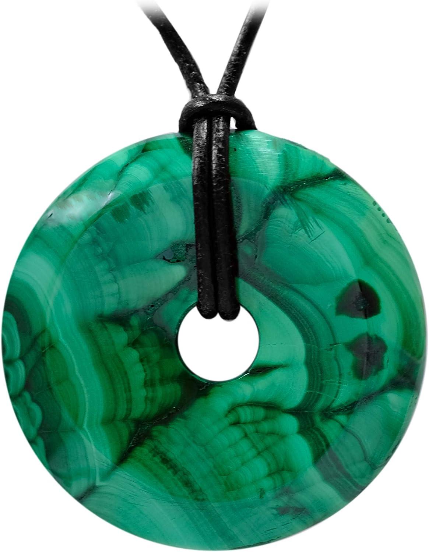 Collar de cuero para mujer y hombre con colgante en forma de donut con la piedra preciosa (malaquita) de Kaltner Präsente