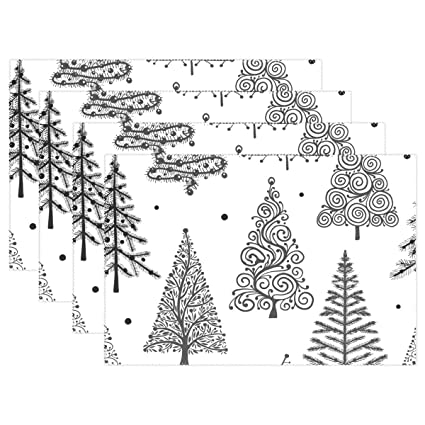 Christmas Trees Silhouette.Amazon Com Danlive Christmas Trees Silhouette Placemats