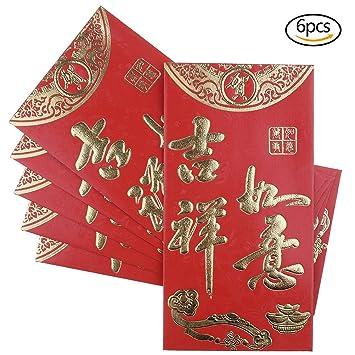 BraveWind, 6 rote, chinesische Briefumschläge, glückbringender ...