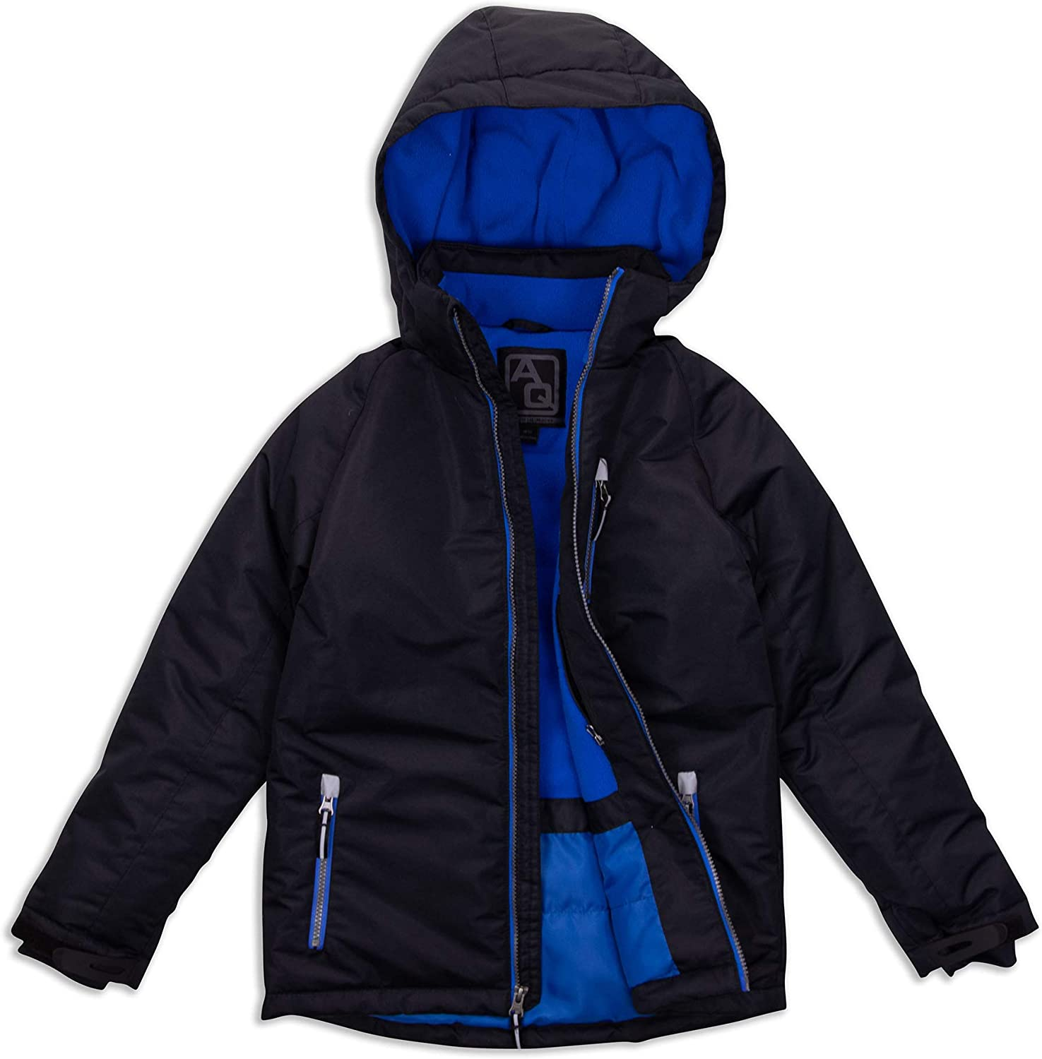 Arctic Quest Boys Windproof Waterproof Insulated Hooded Winter Snow and Ski Jacket with Zippered Pockets: Clothing