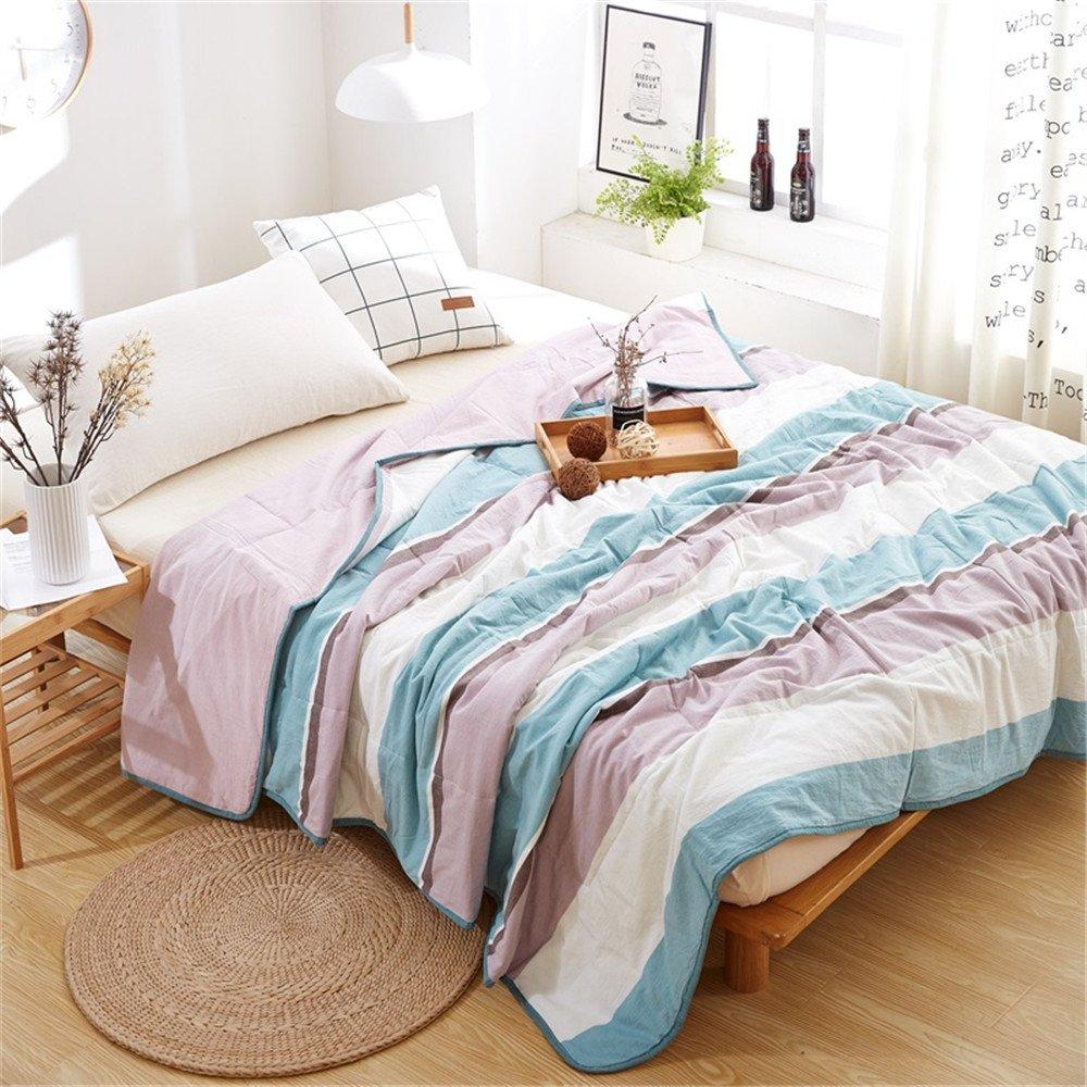 BeddingHome Simple Fashion Stripes Washed Cotton Summer Quilt Ultra Soft Lightweight Comforter-Sofa/Travel Blanket