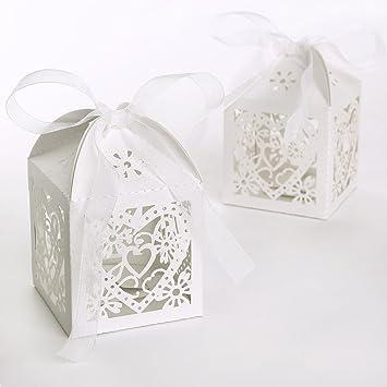 * envío desde Alemania * 100 x Ivory blanco boda regalo para invitados ftalatos iere Caja de cartón caja regalo regalo caja de regalo del paquete: ...