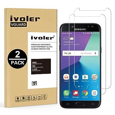 49e7b58c8 [2 Unidades] Samsung Galaxy J7 2017 Protector de Pantalla, iVoler Protector  de Pantalla de Vidrio Templado Cristal ...