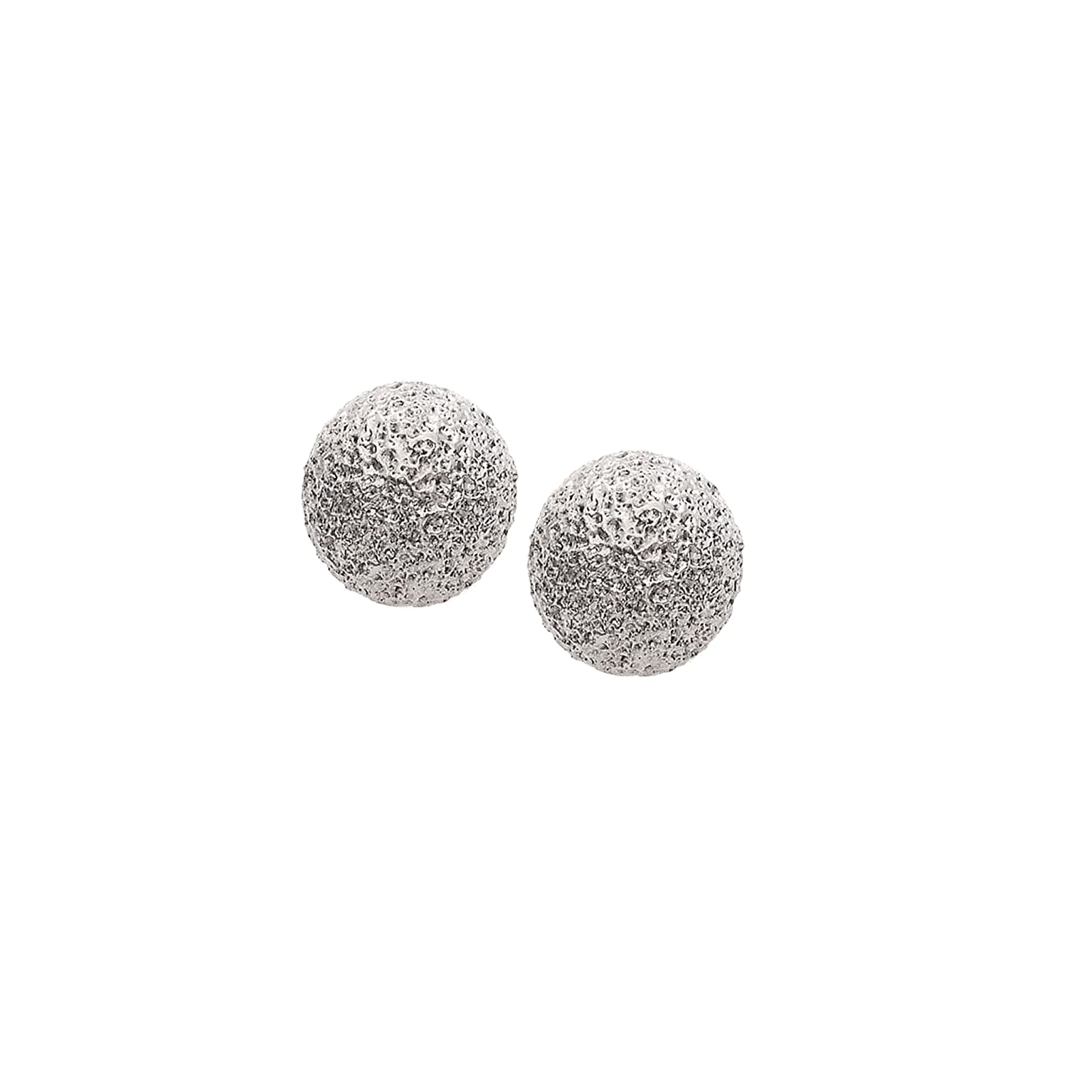 Rhodium Plated Textured Ball Earrings 10mm