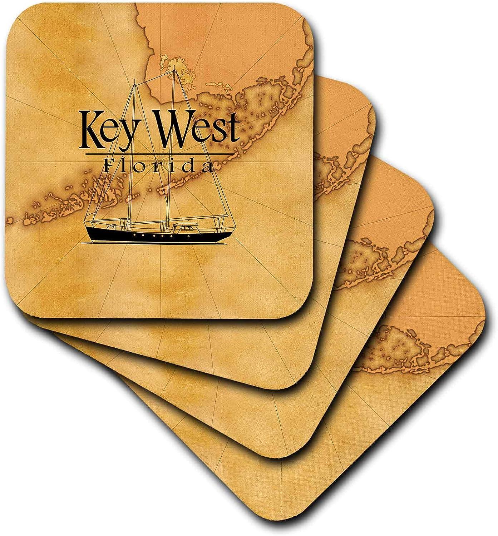3dRose Vintage style nautical map and sailboat for Key West Florida. - Ceramic Tile Coasters, set of 8 , set-of-8-Ceramic, Varies