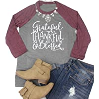 MK Shop Limited Women Grateful Thankful Blessed 3/4 Sleeve T-Shirts Thanksgiving O-Neck Funny Tee Tops