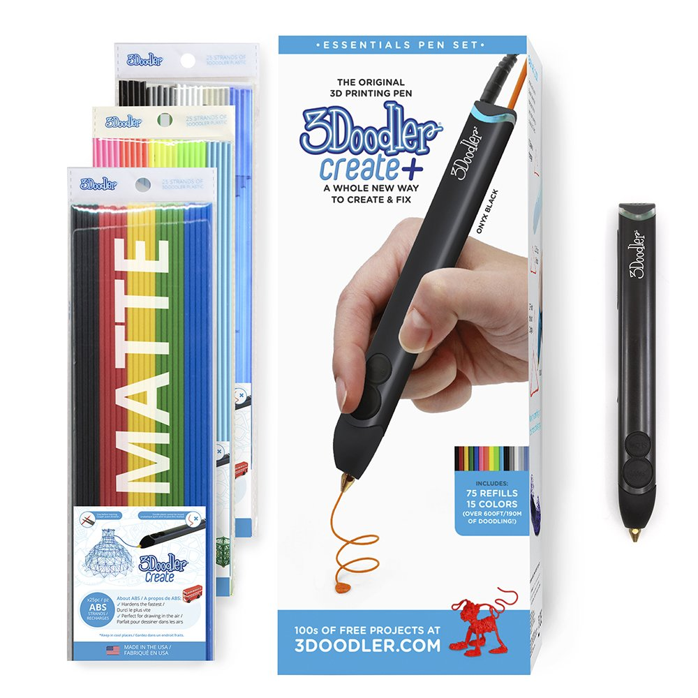 3Doodler Create+ 3D Printing Pen Set with 75 Plastic Refills, Onyx Black, 2018 Model 8CPSBKUS3E