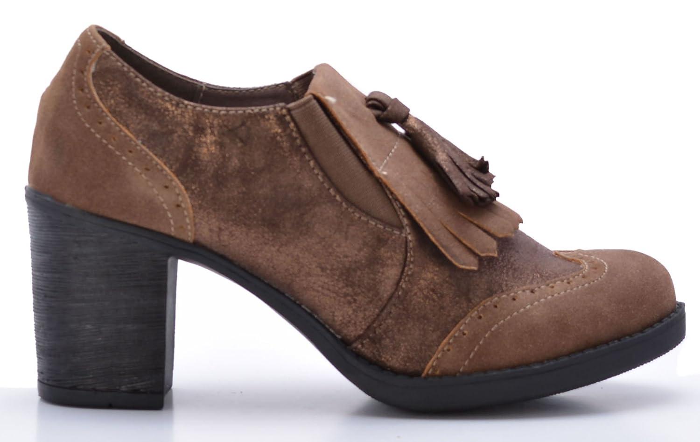 Zapatos Mocasines de Mujer con Tacón Estilo Blucher (42): Amazon.es: Zapatos y complementos