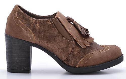 Zapatos Mocasines de Mujer con Tacón Estilo Blucher (42)
