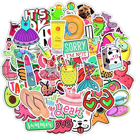 Apol 136 Pcs Waterproof Cute Fashion Trendy Laptop Water Bottles Stickers Suitable for Teens Girls Boys Decorating Luggage Skateboard Bicycle Decals