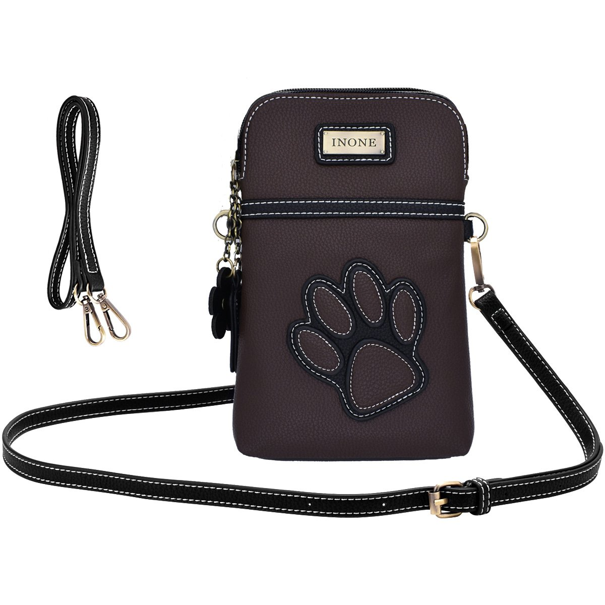 inOne Crossbody Bag Cell Phone Purse - Women PU Leather Handbag with Adjustable Straps - Paw Print Brown