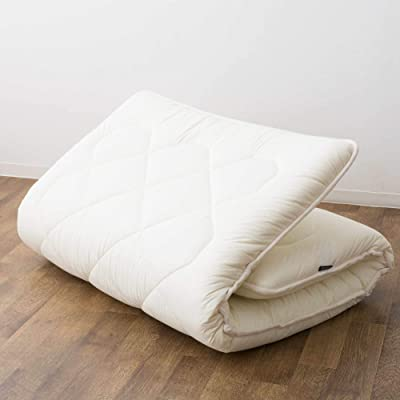 EMOOR Japanese Futon Mattress French-Wool-Blend Extra Thick LEAVEL2 Twin Size (39x79in) Made in Japan
