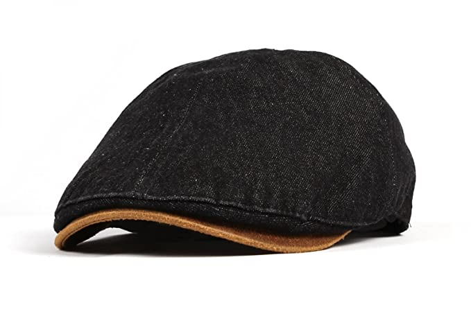 WITHMOONS Denim Newsboy Hat faux leather brim Flat Cap SL3017 (Black ... efdf2a8481bb