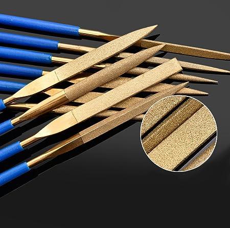 180mm 10PCS Titanium Coated Diamond Needle File Set for Guitar Frets Soft Metal Glass Ceramic Filing Jewelry Making