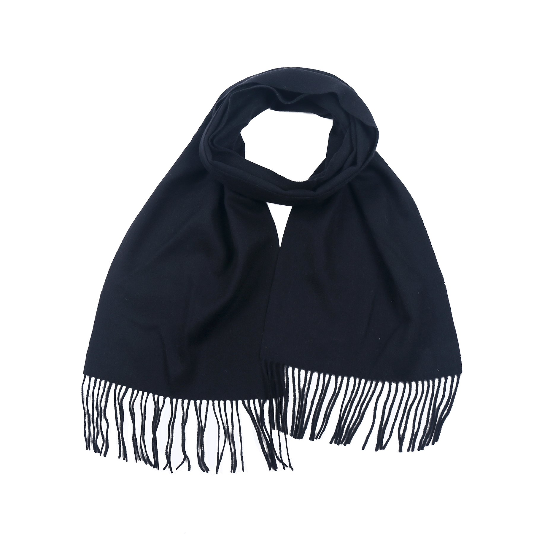 Aqueena Men's New Wool Pure Color Long Scarf With Tassels (Black)