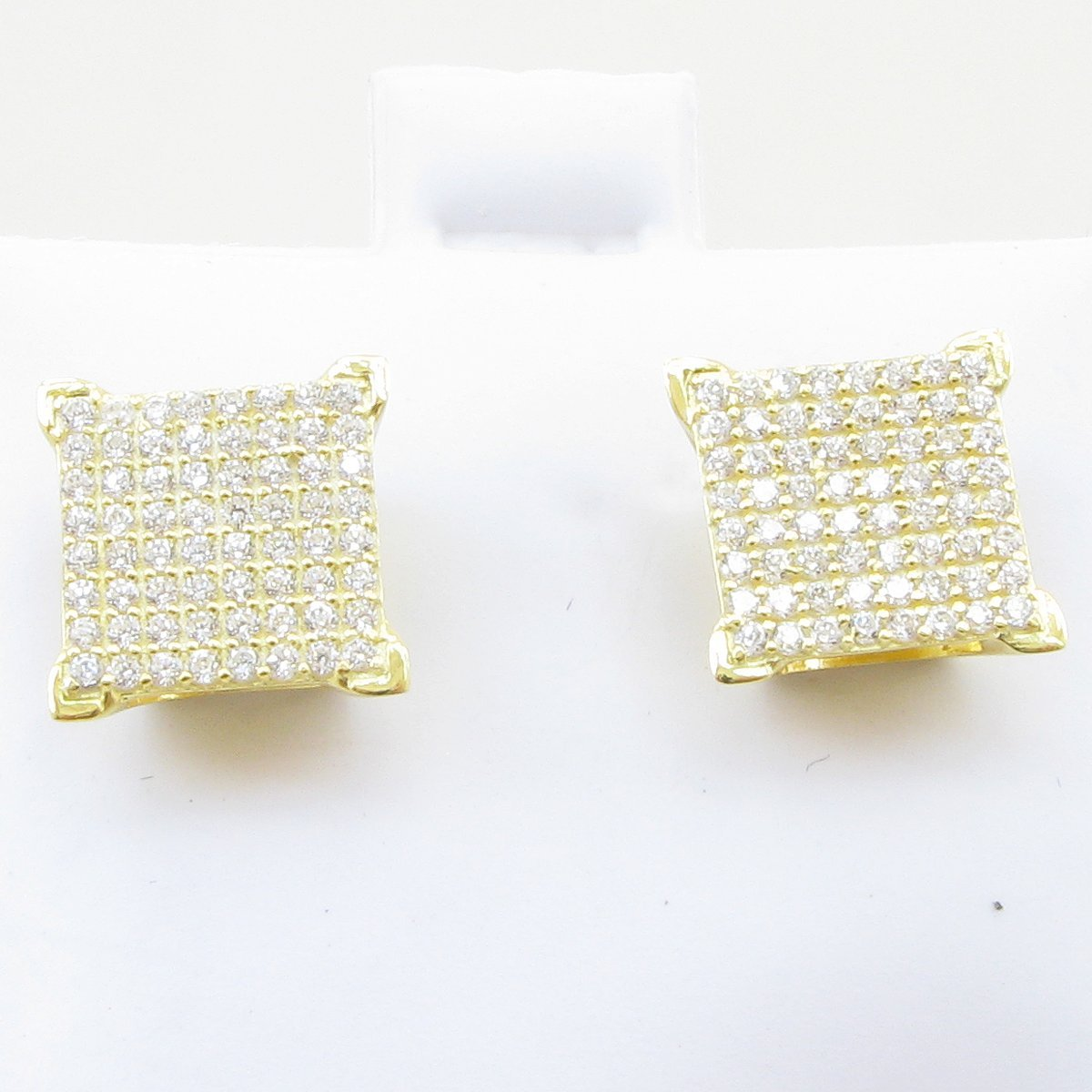 Mens .925 sterling silver Yellow 8 row square earring MLCZ31 5mm thick and 10mm wide Size