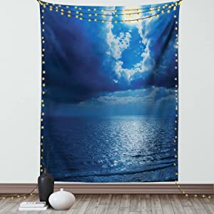 Ambesonne Ocean Tapestry, Romantic Full Moon Between Clouds Over a Quiet Dramatic Sea Tranquil Image, Wall Hanging for Bedroom Living Room Dorm Decor, 60
