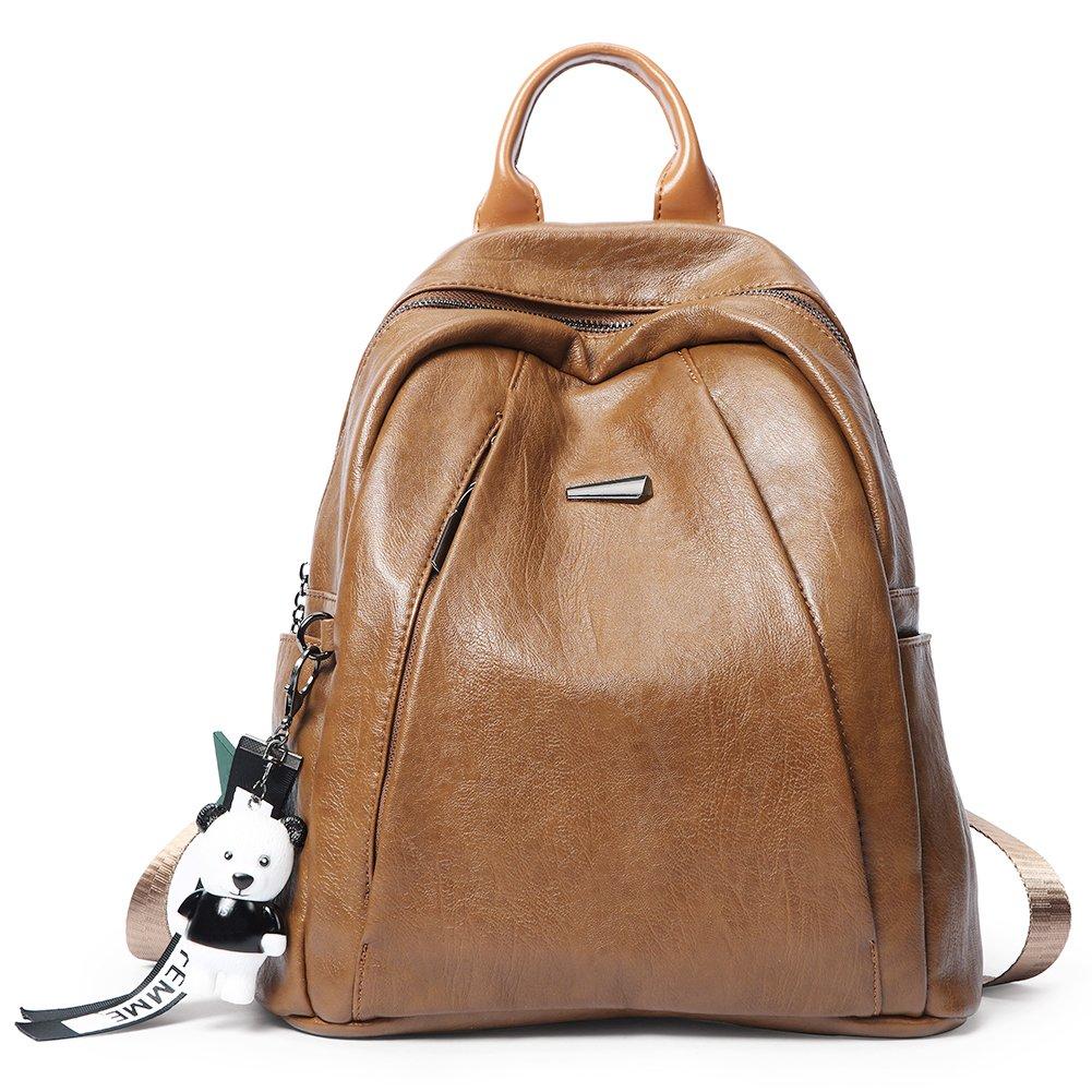 Backpack Purse for Women PU Leather Large Waterproof Travel Bag Fashion Ladies School Shoulder Bag brown