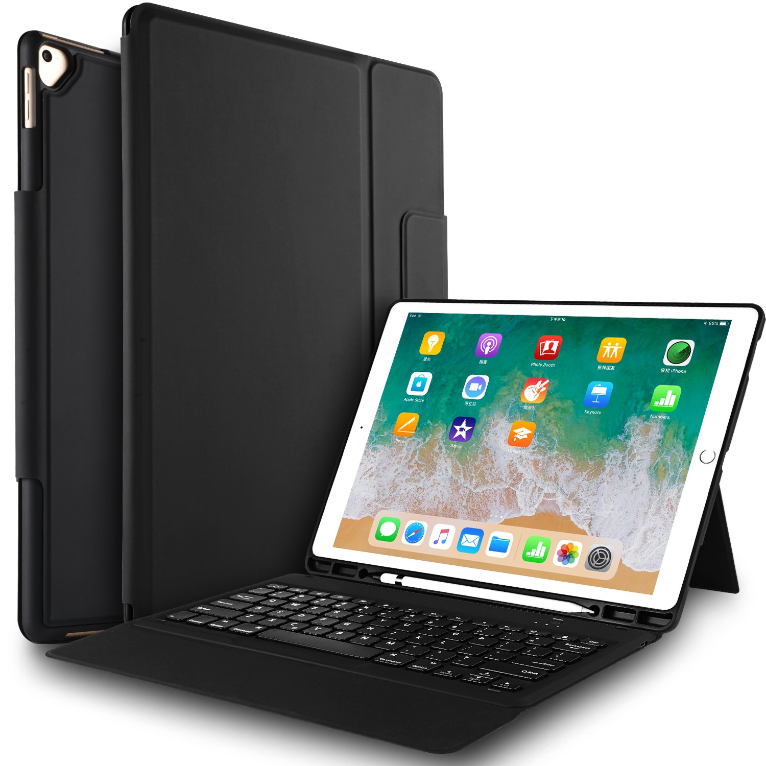 IVSO ipad pro 12.9 Case with Keyboard -Lightweight One-Piece Wireless Keyboard Stand Case/Cover with Pencil Slot for Apple ipad pro 12.9'' 1st Gen 2015 / ipad pro 12.9'' 2nd Gen 2017 Tablet(Black) by IVSO