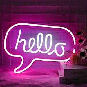 Neon Hello Signs Neon Wall Sign for Cool Light, Wall Art, Bedroom Decorations, Home Accessories, Party, and Holiday Decor (Hello)