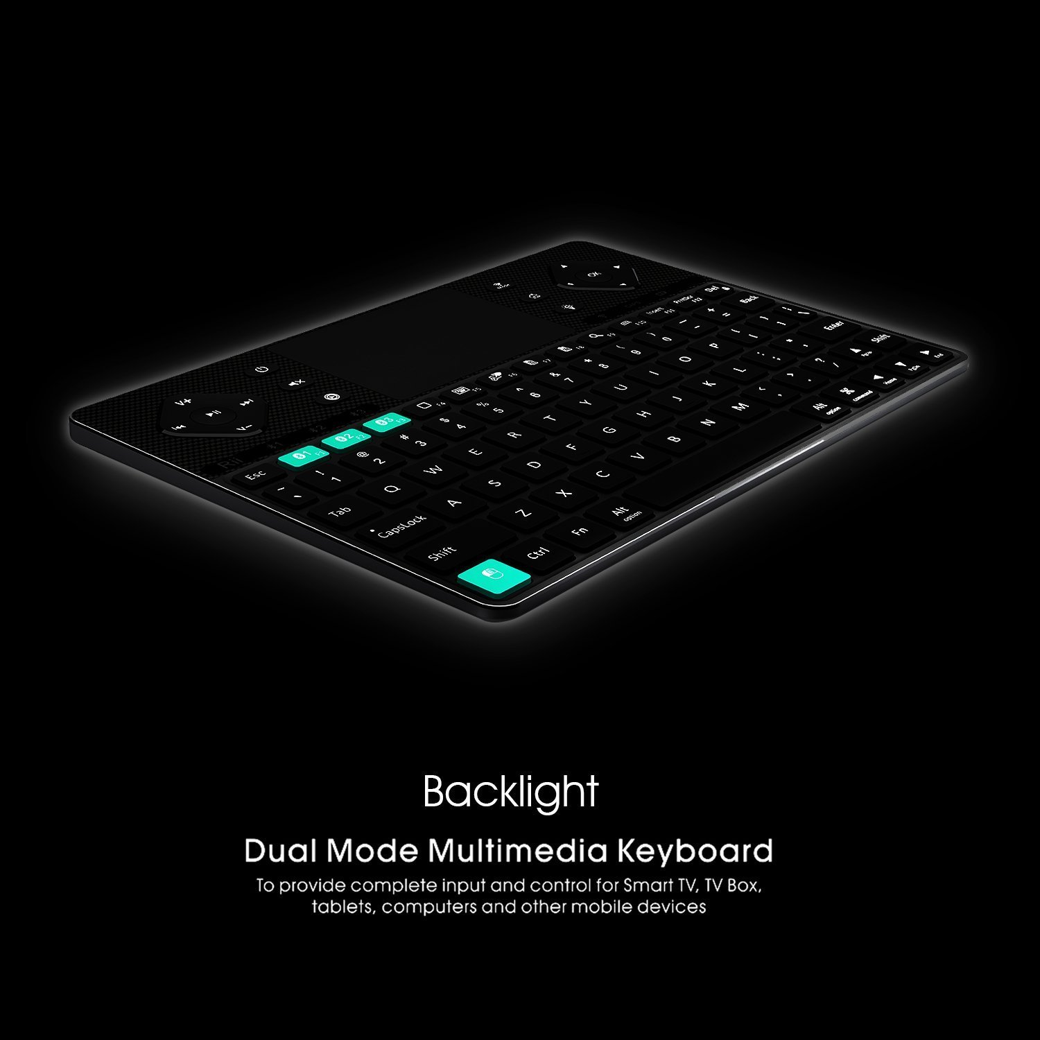 Rii (2018 New arrival) K16 Dual-mode Bluetooth &RF wireless Ultra Slim Rechargable Multimedia Backlit Keyboard With Touchpad Mouse And Aluminium Cover For PC,Tablets, Smart TV,Android TV Box,Windows by Rii (Image #2)