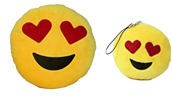 Emoji Pillow and Key Chain Set (Heart Eyes Pillow + Heart Eyes Key Chain)