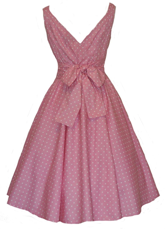 50's Pink Polka Dot Full Circle Dress