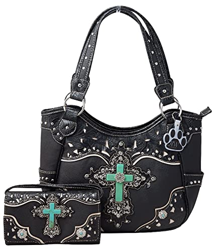 f605d9aa62ff HW Collection Western Turquoise Cross Laser Cut Concealed Carry Handbag and  Crossbody Wallet Set