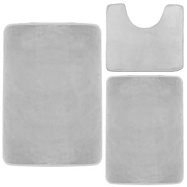 Clara Clark Memory Foam Bath Mat, Ultra Soft Non Slip and Absorbent Bathroom Rug. – Silver, Set of 3 - Small/Large/Contour