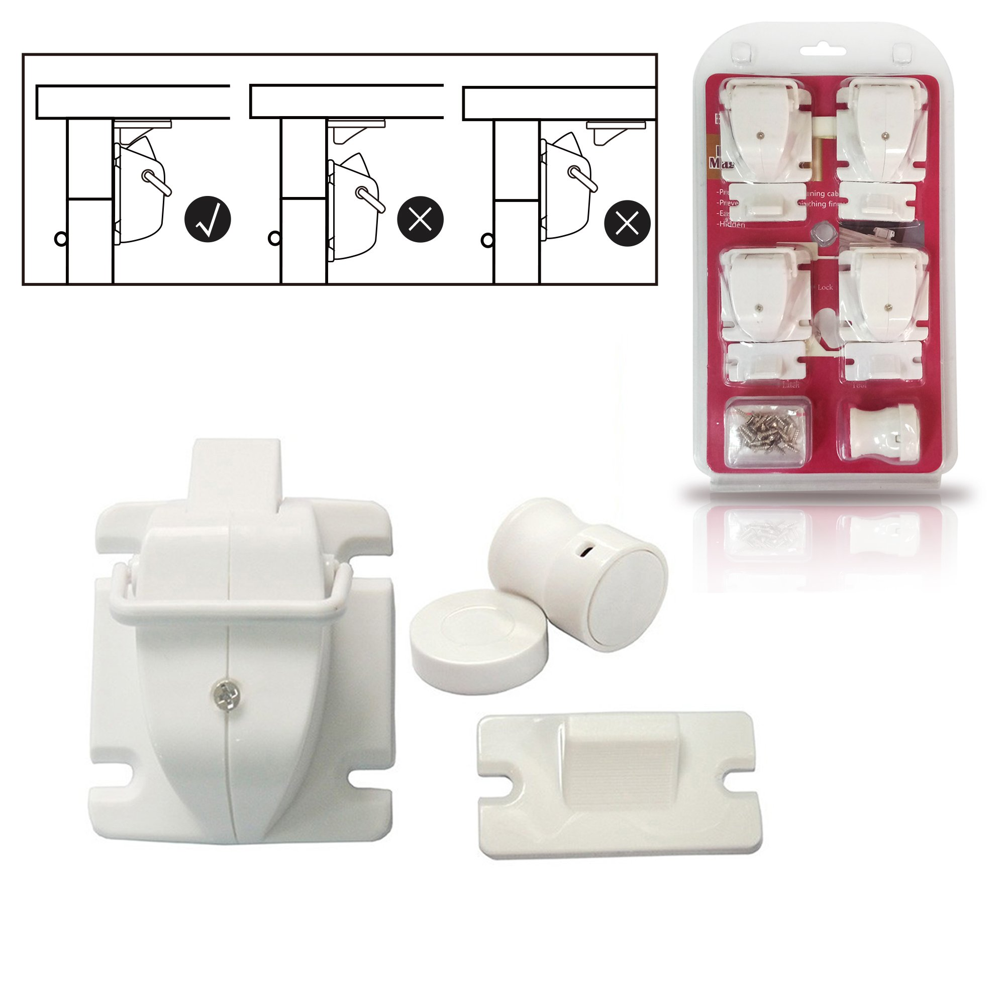 FixtureDisplays Magnetic Cabinet Locks for child safety - No Tools Or Screws Needed (4 Locks + 1 keys) with 1 Installation Tool 16951