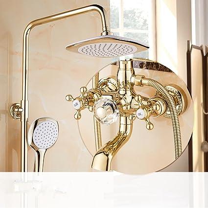 Ali Doccia d\'oro in stile europeo Set doccia Completo bagno in rame ...