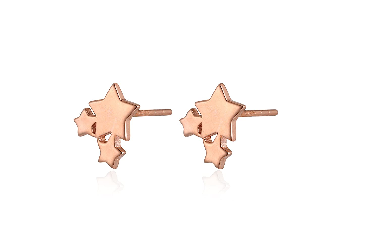 Reu Jewelry Sterling Sliver Plate Stars Stud Earrings Daily Collocation