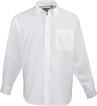 Premier - Camisa lisa de manga larga de caballero/hombre Diseño Oxford Work - Trabajo/Restaurante/Fiesta (Cuello 48cm/Blanco): Amazon.es: Ropa y accesorios