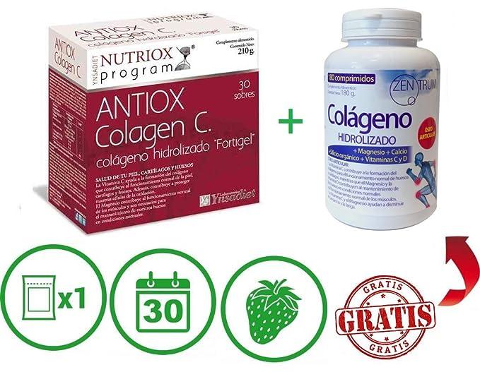 Colágeno Fortigel, magnesio, colágeno hidrolizado, colágeno ácido hialuronico, vitamina c, Acai y Bambú, 30 sobres, sabor fresa, tratamiento 1 mes.