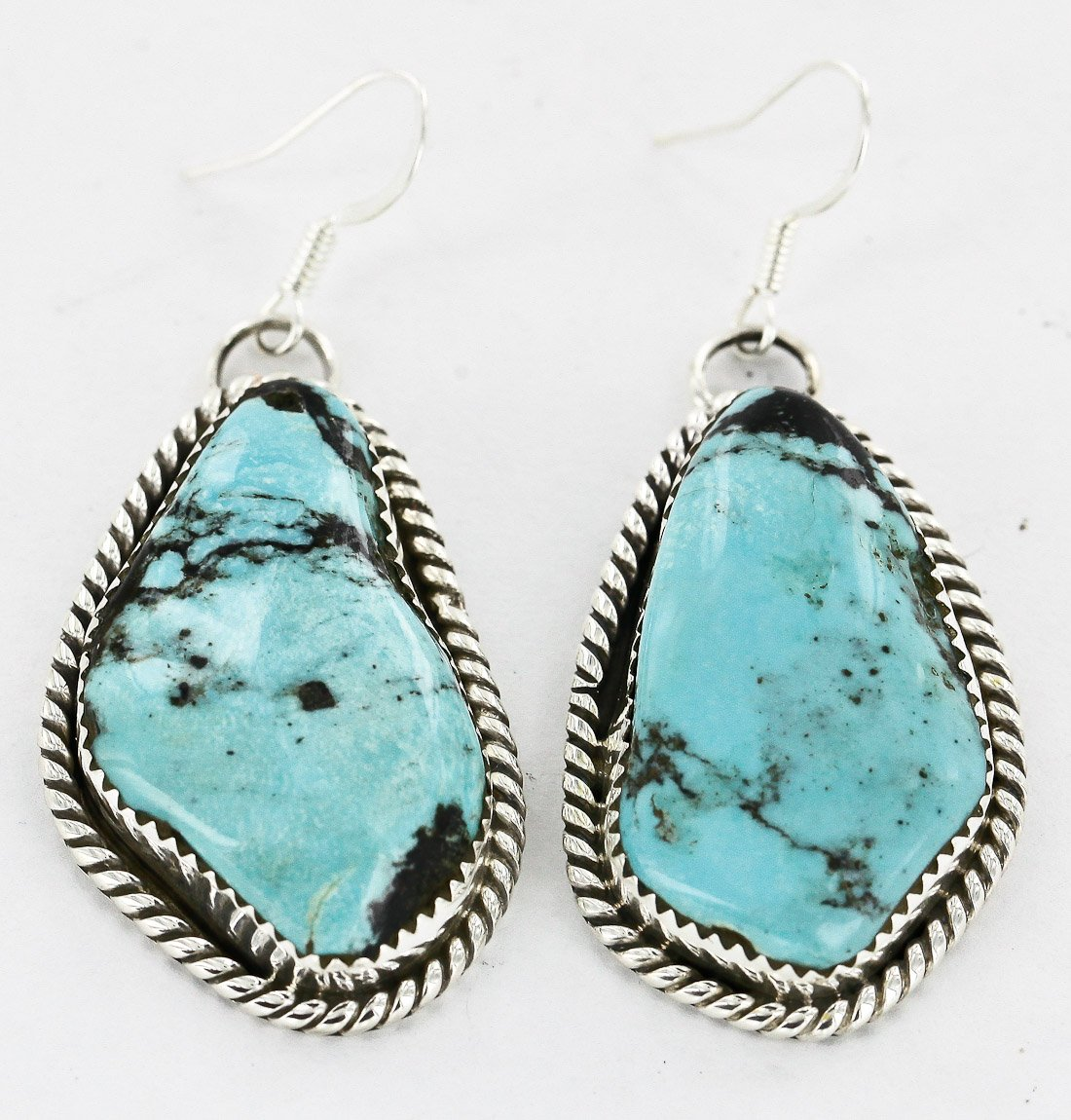 $400 Retail Tag Authentic Handmade Made by Robert Little Navajo Silver Dangle Native American Earrings Natural Turquoise