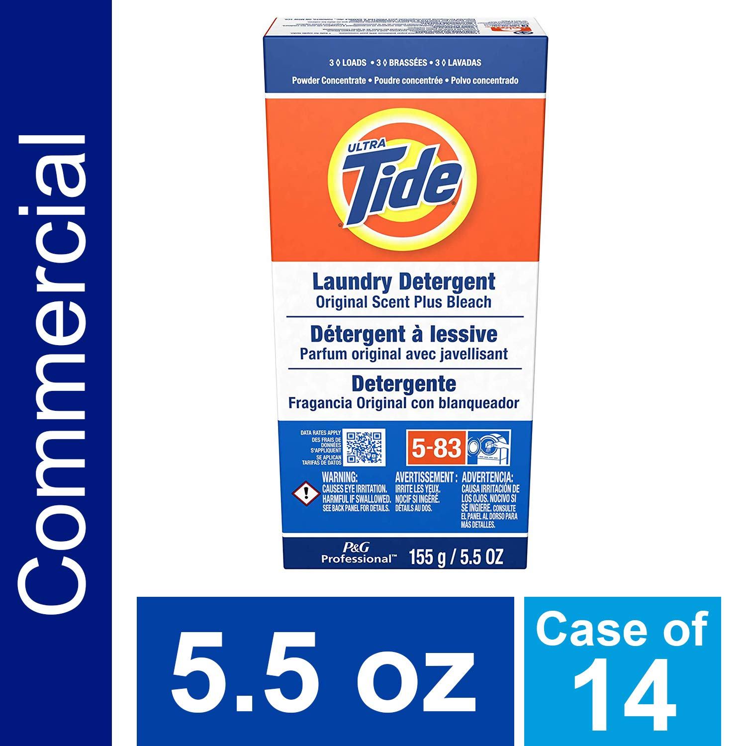 Laundry Detergent from Tide, 3-Load Powder Detergent with Bleach, 5.5 oz. (Case of 14) by P&G Professional