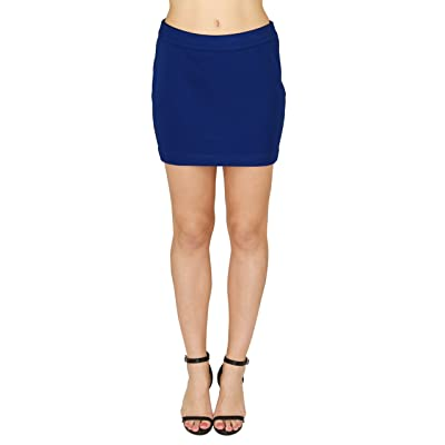 20Dresses Womens Textured Polyester Knit Short Mini Skirt Medium Blue at Women's Clothing store