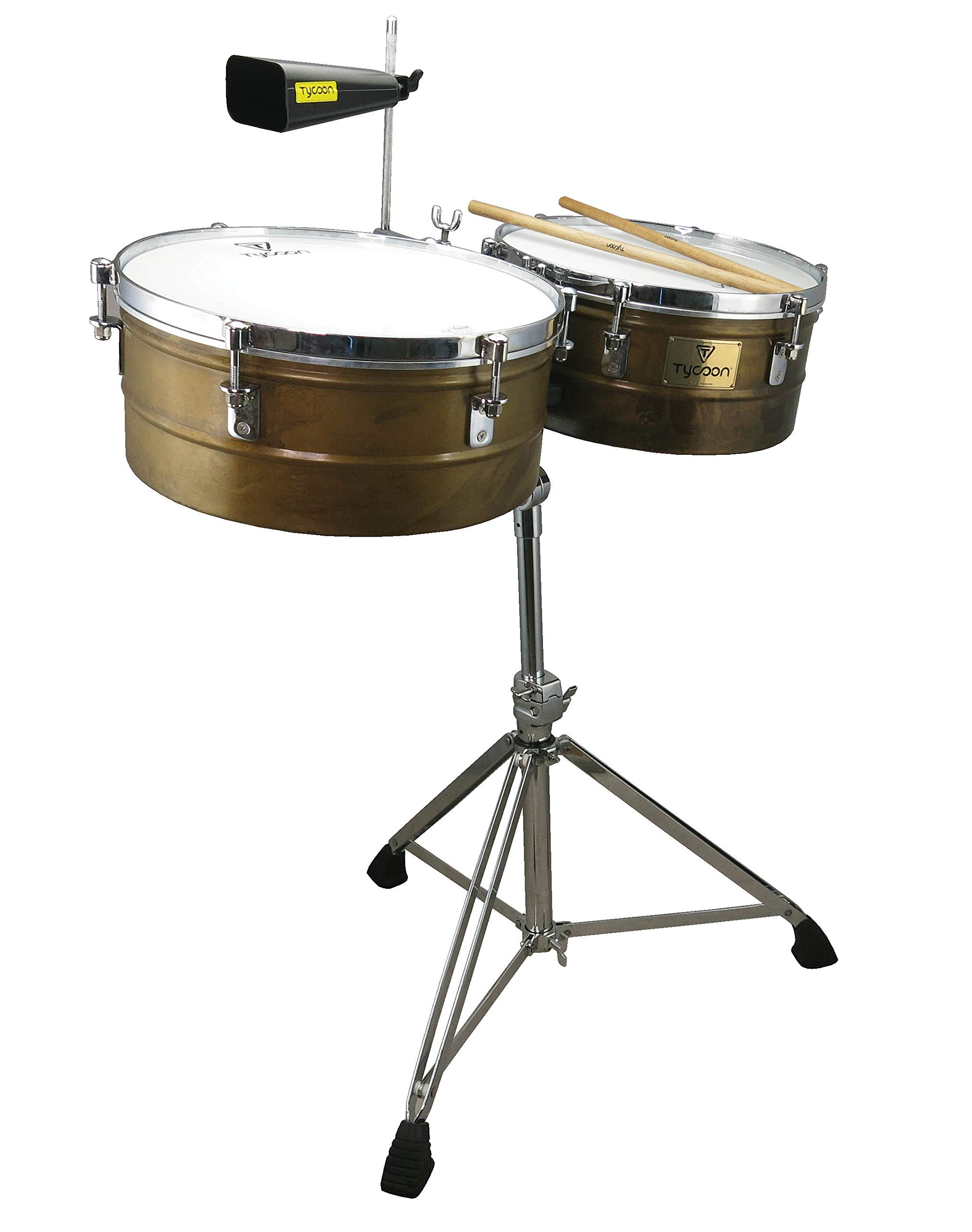 Tycoon Percussion 14 & 15 ANTIQUED GOLD TIMBALES SET WITH STAND (TTI-1415AG)