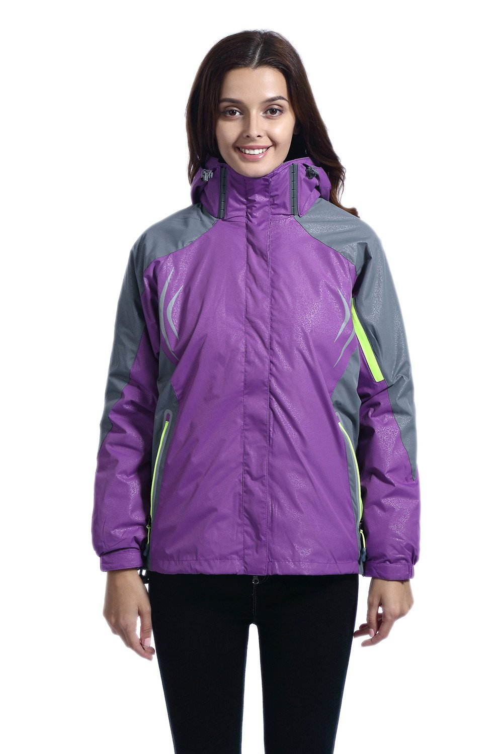 Leajoy Women's Hooded Windproof Rain Jacket Outerwear Hiking Rain Coat Windbreaker