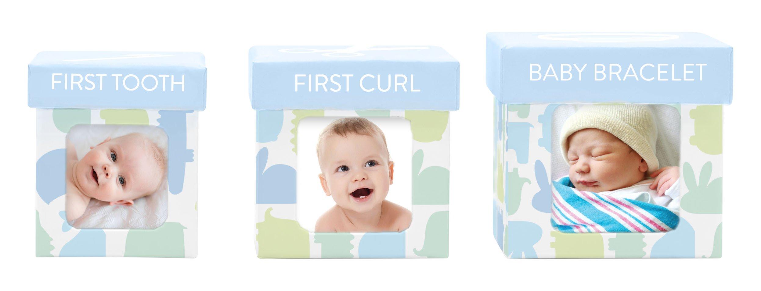Tiny Ideas Keepsake Boxes, Perfect Nursery Décor and Keepsake Box Set, Light Blue