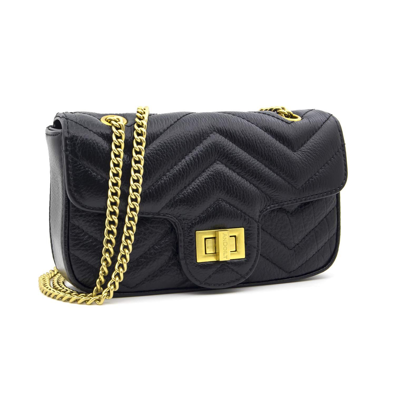 4ef1cbc1e84 Andoilt Small Genuine Full Grain Leather Flap Crossbody Bag Soft Handbag  Classical for Women with Chain Strap