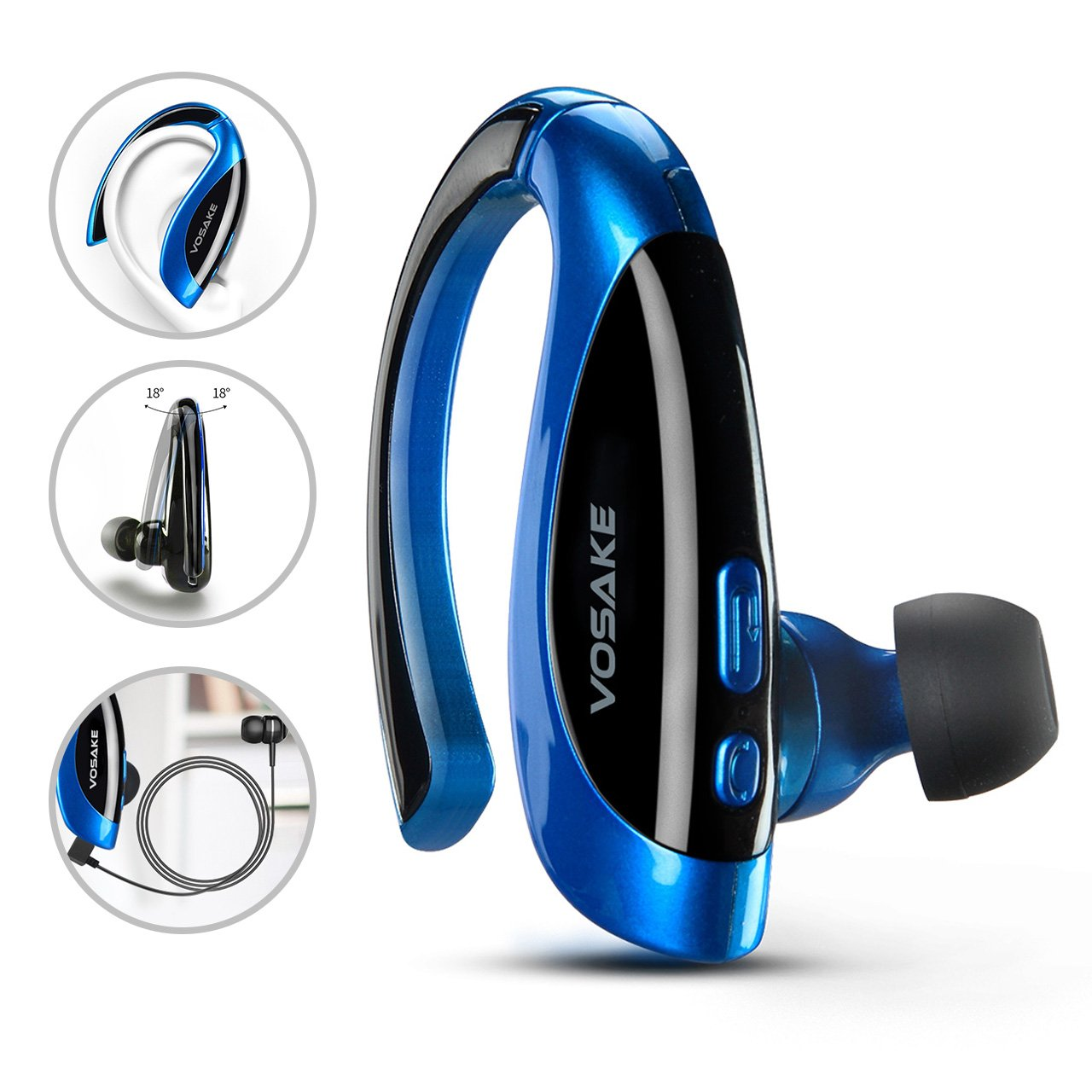 VOSAKE Bluetooth Headset, Wrieless Earphones Hands-free Bluetooth Earpieces with Micphone and 5 Hrs Play Time for Running,Gym,Driving,Walking,Etc.(Blue/Black)