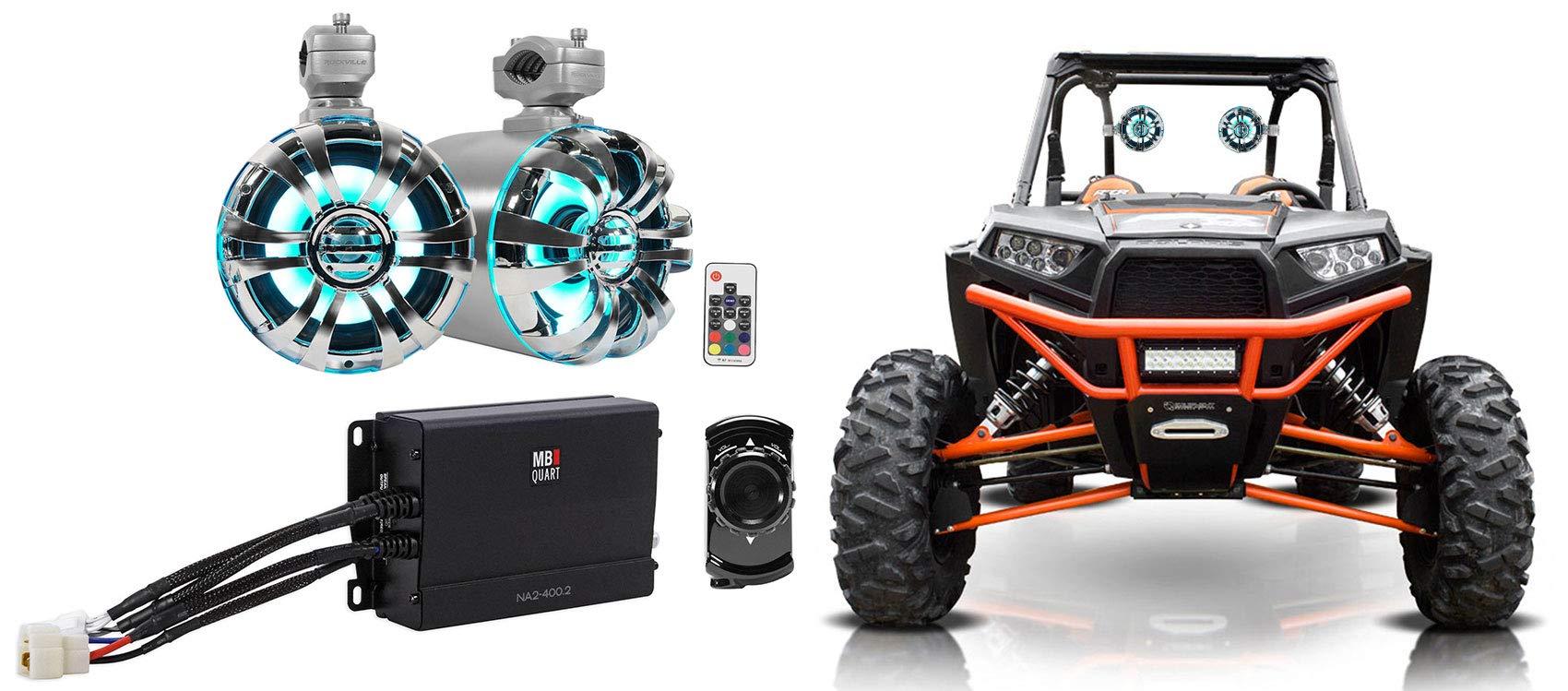 2 Rockville 6.5'' LED Tower Speakers+MB QUART Amp+Bluetooth Ctrl RZR/ATV/UTV/Cart
