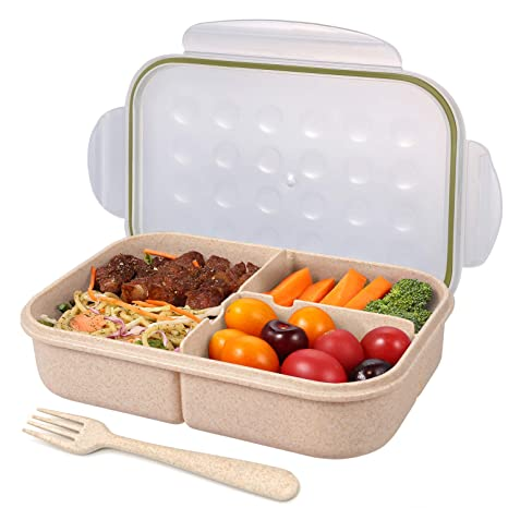 c438f07d6500 Bento Box for Adults Lunch Containers for Kids 3 Compartment Lunch Box Food  Containers Leak Proof Microwave Safe(Flatware Included, Transparent)