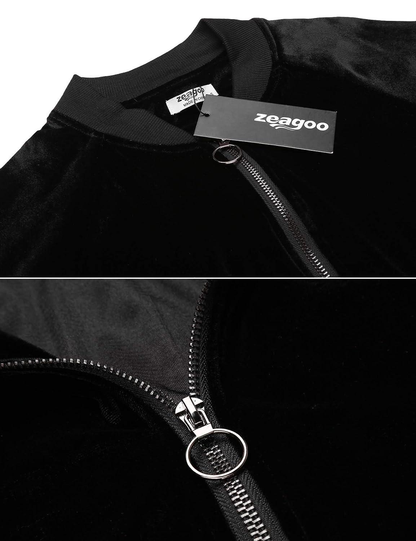 Zeagoo Womens Retro Chunky Cozy Soft Warm Coat Velvet Biker Quilted Bomber Jacket
