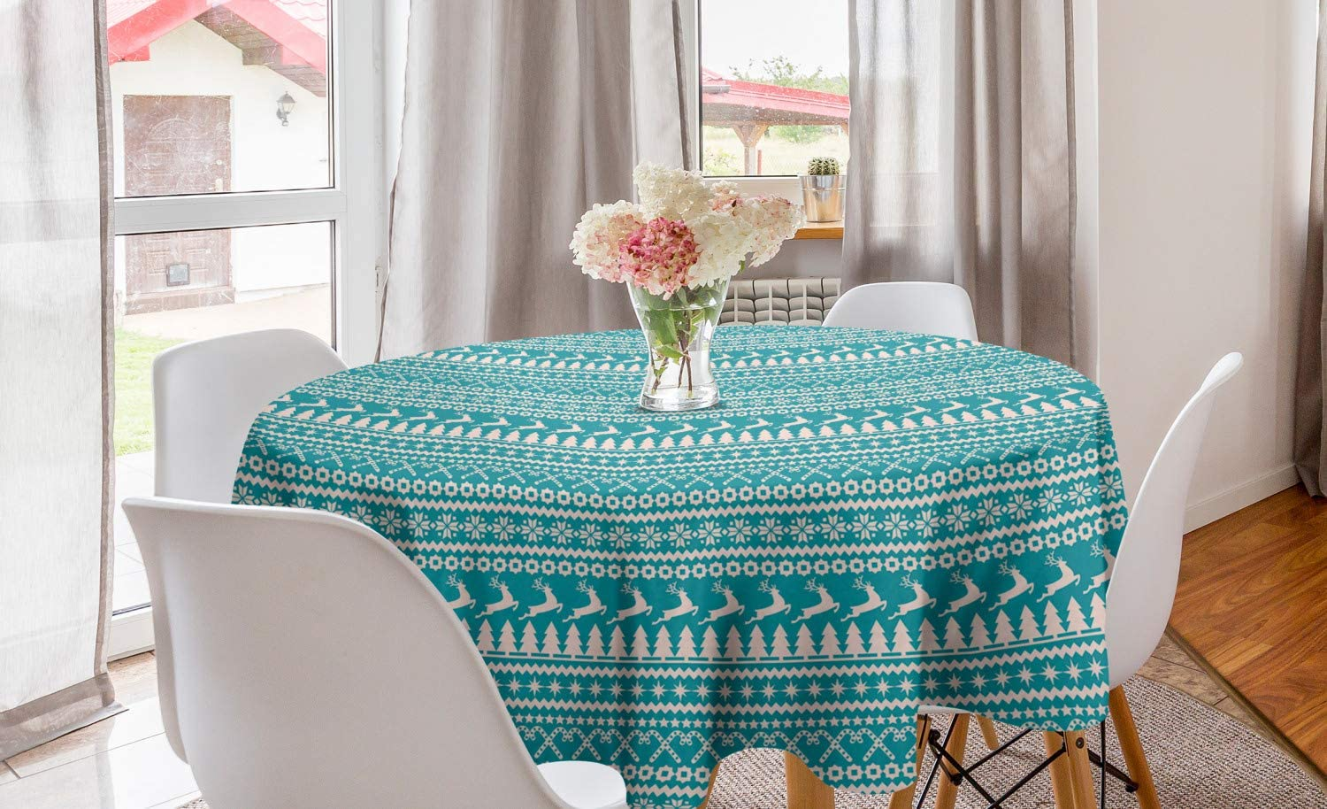 """Ambesonne Nordic Round Tablecloth, Christmas Elements Trees Stars Reindeers and Candy Canes Vintage Illustration, Circle Table Cloth Cover for Dining Room Kitchen Decoration, 60"""", Turquoise Cream"""