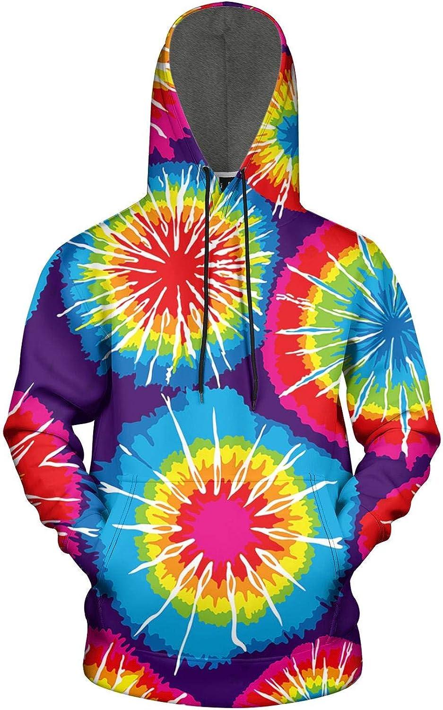 Mens Hoodie Sweatshirt Trippy Tie Dye Art Winter Sweatshirt with Pocket