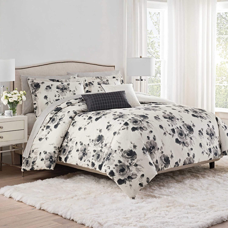 Isaac Mizrahi Home Lilla King Comforter Set in Sepia, Black White Floral, 7 Pieces