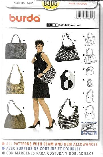 Burda Schnittmuster 8305 Taschen,Sacs,Bags,Bolsos in 6 Varianten ...