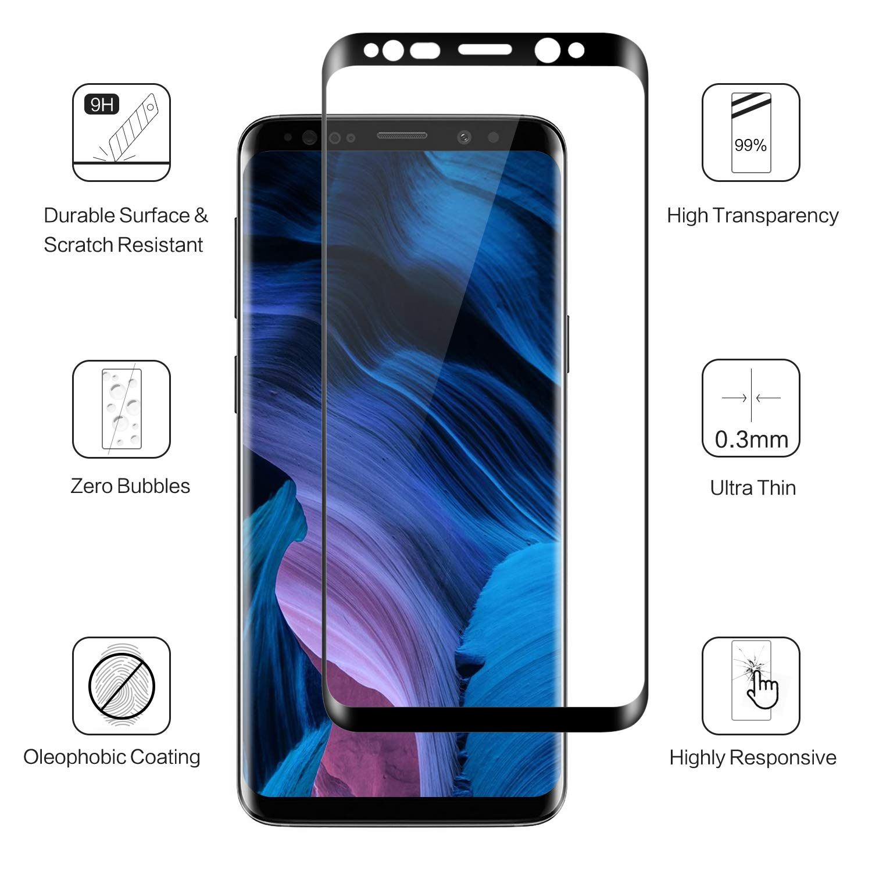 Protector de Pantalla para Galaxy S8, [2 Piezas] 3D con Cobertura Completa Protector para Samsung S8, 9H Dureza, Anti-Ampollas, HD Ultradelgado, ...